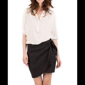 IRO Black Linen Speron Skirt Size 36